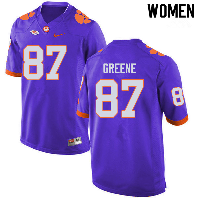 Women #87 Hamp Greene Clemson Tigers College Football Jerseys Sale-Purple